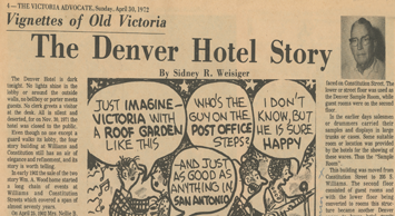 An image of an old newspaper clipping from the Victoria Advocate